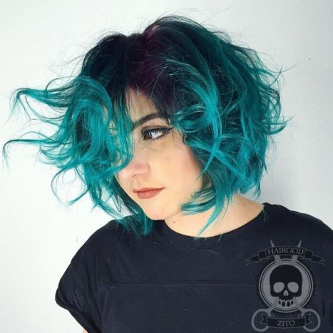12 Teal Balayage Bob With Black Roots