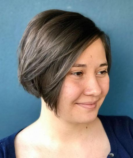 16 Short Angled Bob For Round Face
