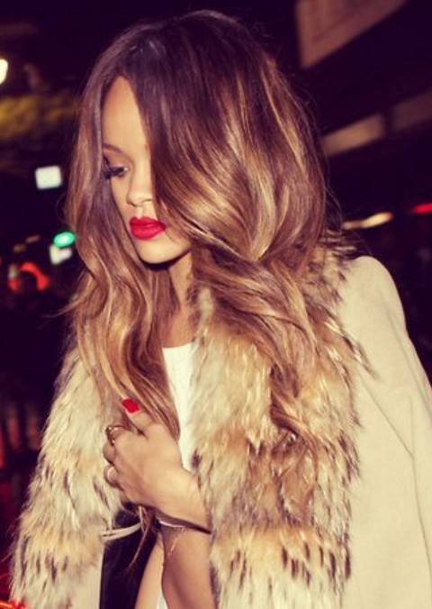 Rihanna Hairstyles Sexy Ombre Loose Curls